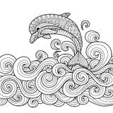Dolphin zentangle. Hand drawn zentangle dolphin with scrolling sea wave for coloring book for adult Royalty Free Stock Photos