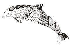 Dolphin zentangle stylized, vector, illustration, pattern, freeh Stock Photography