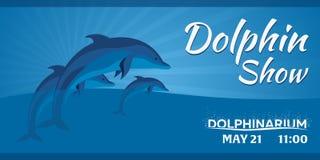 Dolphinarium. Dolphin show. Banner. Ticket. Vector flat illustration. Stock Image