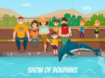 Dolphinarium And Family Illustration. Dolphinarium and family visit with show of dolphins symbols flat vector illustration Stock Photography