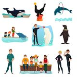 Dolphinarium Icons Set. With dolphins performing for public orca whale and seal show entertainment isolated vector illustration Stock Photo