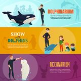 Dolphinarium Show Banners Set. Dolphinarium show horizontal banners set with oceanarium symbols flat isolated vector illustration Stock Photos