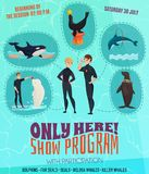 Dolphinarium Show Program Poster. With seals dolphins and whales symbols flat vector illustration Stock Image
