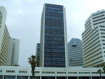 Dolphinarium towers or skyscrapers in Tel Aviv city, Israel. Outdoor generic architecture of The Dolphinarium towers or skyscrapers of Tel Aviv city, Israel stock photography
