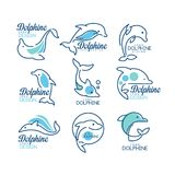 Dolphine logo templates set, nautical design elements in blue colors vector Illustrations on a white background. Dolphine logo templates set, nautical design Stock Photography