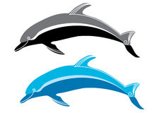 Dolphins. Vector blue and black dolphins on white Royalty Free Stock Photos