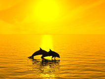 Dolphins. Two dolphins floating at ocean on sunset stock illustration