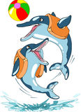 Dolphins. Emerges dolphin  from the water and playing with ball.An illustration is divided into layers on a white background.Additionally, a vector EPS format Stock Photo