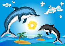 Dolphins. Blue and black on the background of the Stock Photography