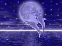 Dolphins. In the night jumping on the moon stock illustration