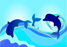 Dolphins. On blue background illustration Royalty Free Stock Images