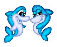 Dolphins. Color illustarion of two dolphins in love royalty free illustration