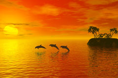 Dolphins. And sunset Vector Illustration