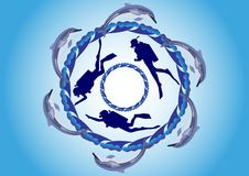 Dolphins And Scuba Divers Royalty Free Stock Photos