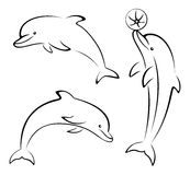 Dolphins and Ball Contours Royalty Free Stock Photos