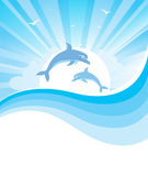 Dolphins in blue sea .Vector nature seascape with  Royalty Free Stock Photo