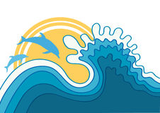 Dolphins in blue sea wave. Royalty Free Stock Photography