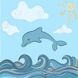 Dolphins in blue sea wave. Cartoons seascape, sun, clouds Stock Illustration