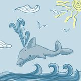 Dolphins in blue sea wave. Cartoons seascape, sun, clouds and seagull Royalty Free Illustration