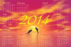 Dolphins 2014 calendar - 3D render Stock Photo