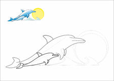 Dolphins coloring page Stock Image