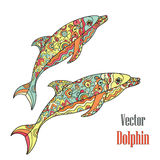 Dolphins couple. Vector. Stock Photo