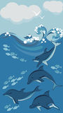 Dolphins and fish, underwater. Vector illustration Royalty Free Stock Image