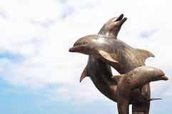 Dolphins fountain in Puerto Vallarta, Mexico. Dolphins fountain on Malecon at Pacific ocean in Puerto Vallarta, Mexico Stock Photos