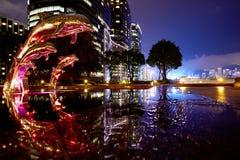 Dolphins and Harbor, Hong Kong stock photo