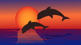 Dolphins jump into the sea against the background of yellow red. Sunset for tourist booklets, postcards, Souvenirs, magnets. Vector illustration Stock Images