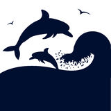 Dolphins jumping in big sea wave.Vector silhouete  Stock Image