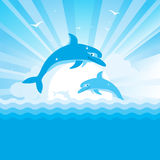 Dolphins jumping in blue sea .Vector nature seasca. Pe with sun and waves Stock Photography