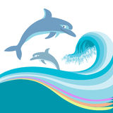 Dolphins jumping in sea waves.Vector isolated on w Royalty Free Stock Photo