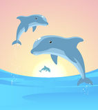 Dolphins jumping. Three Dolphins jumping out of the water in the horizon  illustration Stock Photo