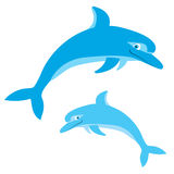 Dolphins jumping in.Vector isolated on white Royalty Free Stock Photo