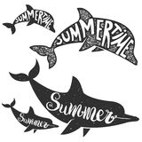 Dolphins with lettering. Summer time. Stock Photo