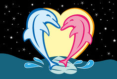 Dolphins In Love Royalty Free Stock Photos