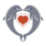 Dolphins in love stock illustration