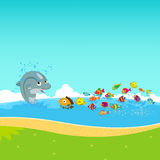 Dolphins and oceanic. Dolphins and fish oceanic background stock illustration