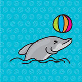 Dolphins playing ball, vector illustration. Dolphins playing ball, jumping on sea, vector illustration Royalty Free Stock Image