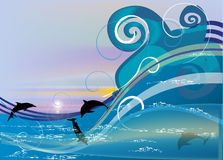 Dolphins in sea wave Royalty Free Stock Images