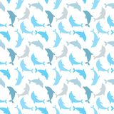 Dolphins seamless background. Dolphin seamless pattern background vector illustration. Stock Photo