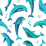 Dolphins seamless pattern. Mosaic vector seamless pattern with dolphins stock illustration