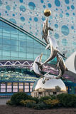 Dolphins statue in front of the Moskvarium in ENEA Royalty Free Stock Photo