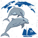 Dolphins and  tall ship Royalty Free Stock Photo