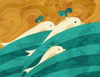 Dolphins vector art Stock Images