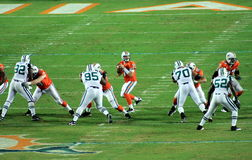 Dolphins vs Jets. Dolphins lost to the Jets 31 to 23at the Sun Life Stadium on September 26, 2010 Stock Image