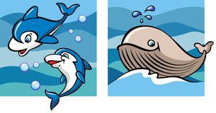Dolphins and whale. Against a backdrop of the sea waves, set of two cartoon pictures, vector illustration Stock Photos