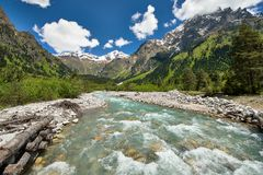 Dolra river of Becho Valley stock photography