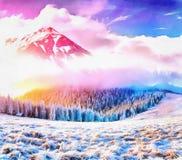 Dolt träd för magisk vintersnö Arbetena i stilen av wate arkivfoto